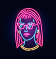 neon girl in glasses fashion sign night light vector image vector image