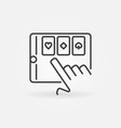 online poker app on tablet icon in thin vector image vector image