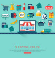 Online shopping concept background with place for vector image vector image
