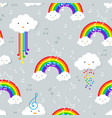 pastel rainbow and stars seamless pattern on blue vector image vector image