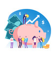 piggy bank and people deposit money bank wealth vector image vector image