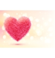 Pink fluffy heart on shining bokeh background vector image vector image
