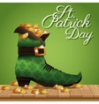poster st patrick day gold coins boot vector image