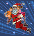 santa claus with children christmas and new year vector image vector image