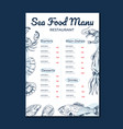 seafood main menu template mock for cafe vector image vector image