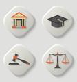 set of icons of a judicial subject vector image