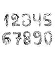 Set of numbers Vintage Doodle Zentangle Hand vector image vector image