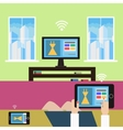 Shopping from home modern technology vector image vector image