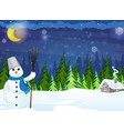 snowman and house vector image vector image