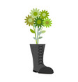 soldiers shoes and bouquet of military greens vector image vector image