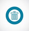 trash bin icon bold blue circle border vector image vector image