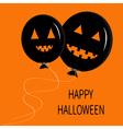 Two cute cartoon funny black balloon pumpkin with vector image vector image