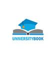 university book logo vector image vector image