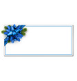 white christmas banner with blue bow vector image vector image