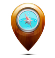 Wooden pointer with a compass vector image