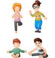 yoga kids collection set vector image vector image
