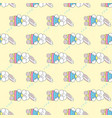 seamless pattern with sleeping easter bunny vector image