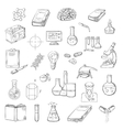Scientist with laboratory research sketch icons vector image