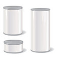 metal tin can set retro canned food package vector image