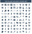 100 holiday icons vector image vector image