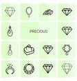 14 precious icons vector image vector image