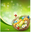 background with Easter nest and eggs vector image vector image