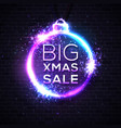 big xmas sale discount banner on dark brick wall vector image