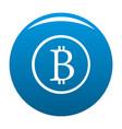 bitcoin sign icon blue vector image