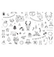 black and white christmas and winter doodles vector image