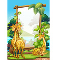 Border design with three giraffes in the park vector image vector image