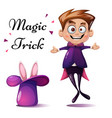 cartoon boy magic tric rabbit vector image vector image