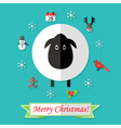 Christmas Card with Sheep over Blue vector image