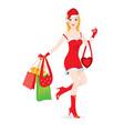 christmas girl shopping vector image