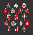 christmas tree toys and balls drawn hand vector image