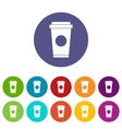 Coffee in take away cup set icons vector image