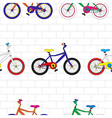 Colorful Bicycle on White Brick Wall vector image