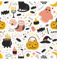 colorful seamless pattern with cute creepy vector image vector image