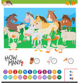 counting farm animals activity vector image vector image