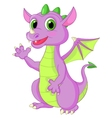 Cute baby dragon cartoon waving vector image vector image