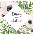 floral wedding invite card design with flowers vector image vector image