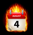 Fourth august in calendar burning icon on black