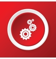 Gears icon on red vector image