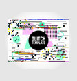 glitch poster template glitched design vector image