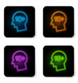 glowing neon human head with inscription 18 plus vector image vector image
