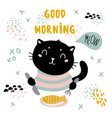 Good morning cat card pet have fish breakfast