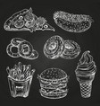 Hand drawn popular fast food on blackboard