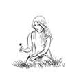 hand sketch woman sitting in grass vector image vector image