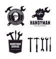 Handyman labels badges emblems and design elements vector image vector image