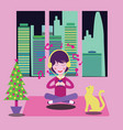 happy girl at home with headphones listening to vector image vector image