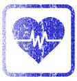 heart pulse framed textured icon vector image vector image